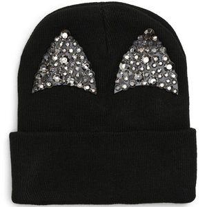 Tasha Sparkle Cat Ear Beanie in Black